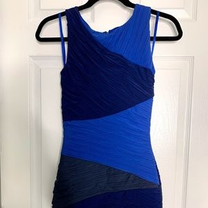 BCBG MAXAZRIA COLORBLOCK RUCHED DRESS
